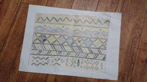 西アフリカの伝統泥染め風レザークラフト ②